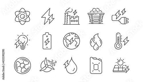 Photographie Energy types line icons