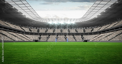 Composition of empty sports stadium with rugby field