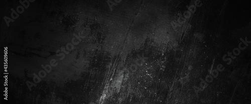 Fotografie, Tablou Scary dark walls, slightly light black concrete cement texture for background