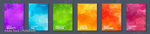 Bundle set of bright vector colorful watercolor background for poster or brochure cover design