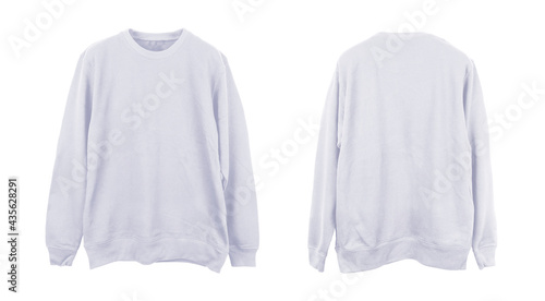 Photo Blank sweatshirt color white template front and back view on white background