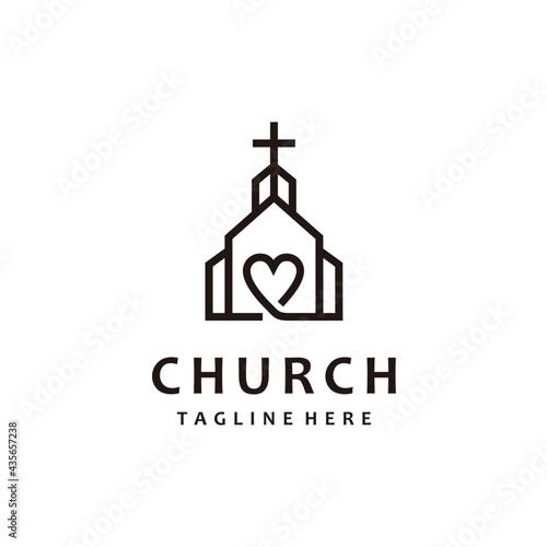 Christian church lovers cross gospel line art logo design inspiration Fototapeta