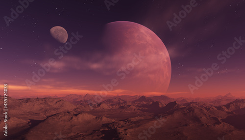 Fotografie, Obraz 3d rendered Space Art: Alien Planet - A Fantasy Landscape with purple skies and