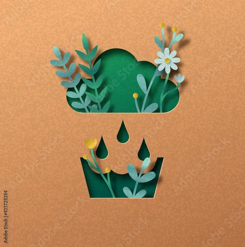 Fényképezés Rainwater recycling green paper cut nature concept