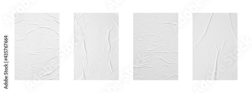 Fotografia white crumpled and creased glued paper poster set isolated on white background