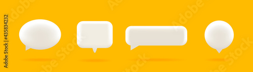 Set of four 3D speech bubble icons, isolated on orange background. 3D Chat icon set.