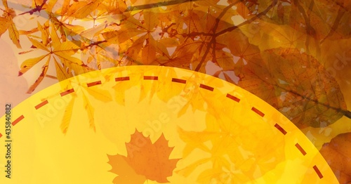 Digitally generated image of maple leaf over yellow banner against tree in background