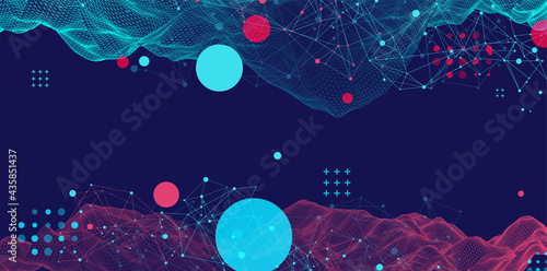 Modern science or technology abstract background. Cyberspace surface illustration. Vector.