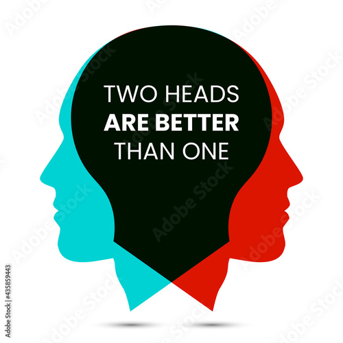 Photo Two heads are better than one. Vector