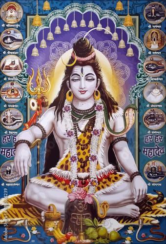Obraz na płótnie lord shiva god  hinduism ox snake  animal spiritual illustration holy