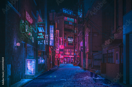 Fotografia neon lights streets at night asian street, china