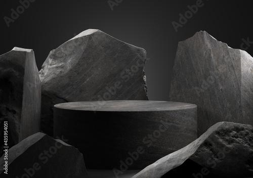 Fotografie, Obraz Black stone podium for display product. 3d illustration