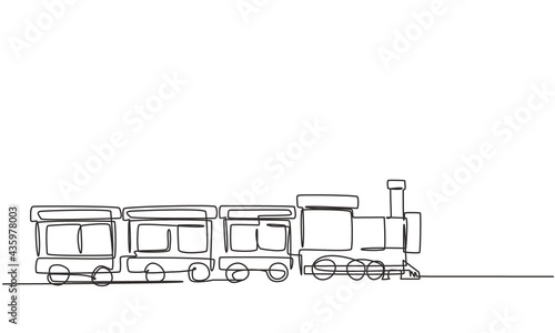 Obraz na plátně Single one line drawing of a train locomotive with three carriages in the form of a roving steam system in an amusement park to transport passengers