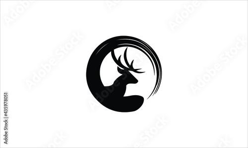 Fotografia Reindeer with  Brush Stroke  icon logo design vector illustration