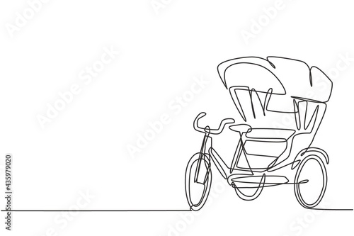 Fotografie, Obraz Single one line drawing of cycle rickshaw with three wheels and a rear passenger seat is an ancient vehicle in several Asian countries