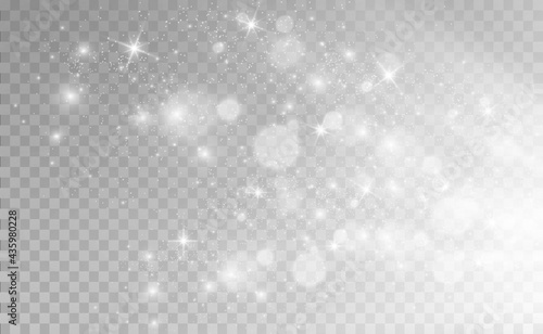 Beautiful sparks shine with special light. Vector sparkles on a transparent background. Christmas abstract pattern. A beautiful illustration for the postcard. The background for the image. Luminaries.