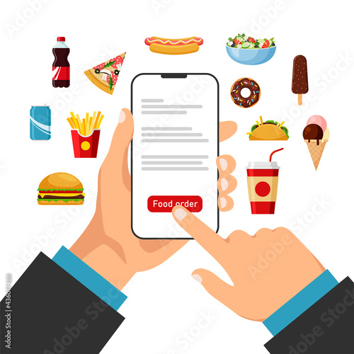 Fotografia Hand holds smartphone and orders food online