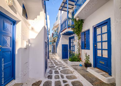 Fotografering Beautiful traditional narrow alleyways of Greek island towns