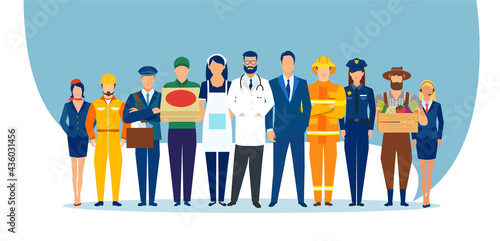 Wallpaper Mural Vector of a diverse group of people of different professions and occupations