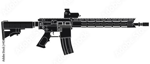 Fotografie, Obraz Silhouette AR Assault rifle isolated on white
