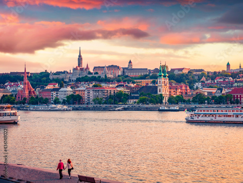 Wallpaper Mural Astonishing evening view of Inner City parish Church and Fisherman's Bastion in Pest city