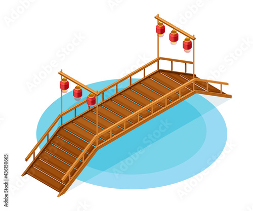 Fotografiet Wooden Bridge with Balustrade Railing and Hanging Paper Lanters as Asian Archite