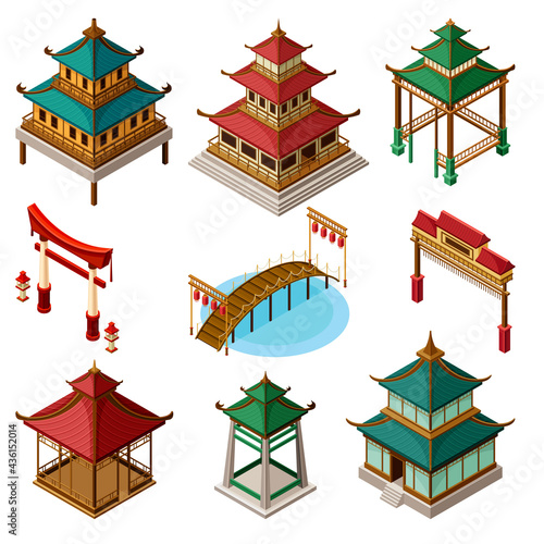 Obraz na plátně Asian Architecture with Pagoda, Gates and Bridges Isometric Vector Set