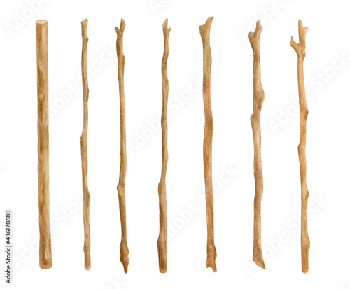 Obraz na płótnie Watercolor wooden sticks set
