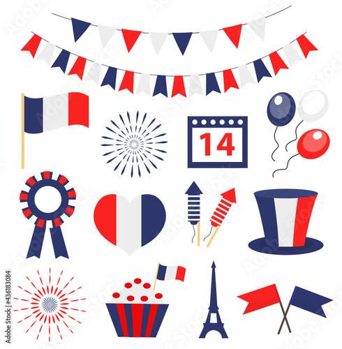 Fototapeta Bastille day, France national holiday icons set
