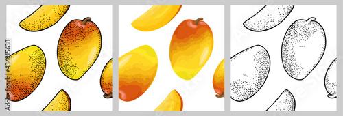 Fotografie, Tablou Seamless pattern fresh whole and slice mango. Isolated on white