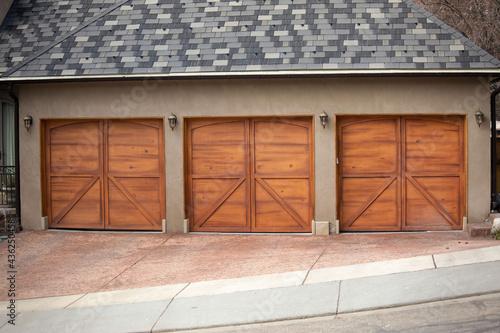 Obraz na plátně Garages with wooden gates