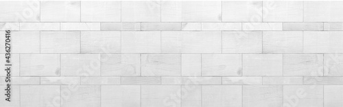 Fotografie, Obraz Panorama of White granite building exterior wall tile pattern and background sea