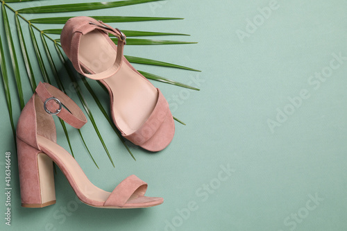 Fotografie, Obraz Pair of stylish high heeled shoes and palm branch on green background, flat lay