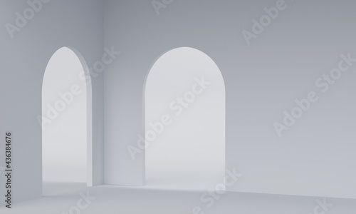 Tela Empty white room with archway entrance. 3d rendering