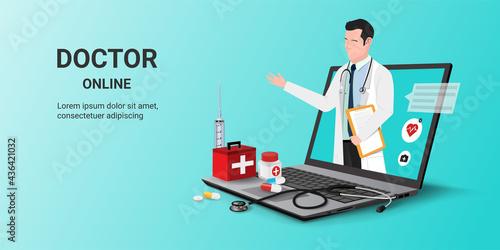 Slika na platnu Doctor online on laptop app with male doctor standing