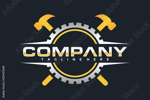 Carta da parati gear hammer emblem logo