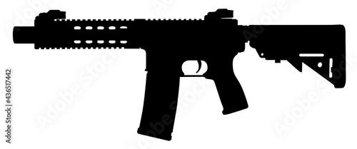 Obraz na plátně Vector image silhouette of modern military assault rifle symbol illustration isolated on white background