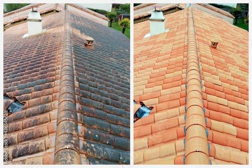 Canvas Print montage de toiture avant et après nettoyage et traitement des tuiles