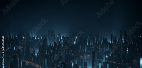 3D Rendering of large city from high angle aerial view. Many tall buildings with lights reflection from led and cars on roads. Concept for technology background