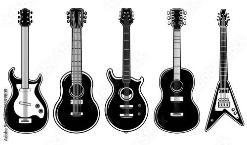 Fotografie, Obraz Set of illustrations of guitar isolated on white background