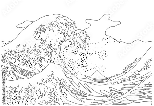 """Slika na platnu """"The Great Wave in Kanagawa"""", also known as the Great Wave"""