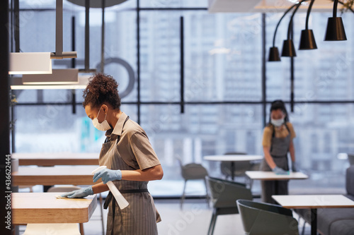 Side view portrait of young woman wearing mask while cleaning tables in modern restaurant interior, copy space