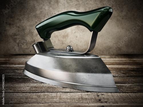Fototapeta Vintage iron isolated on white background. 3D illustration
