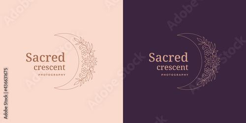Fotografija Moon crescent with flowers logo emblem design template vector illustration in mi