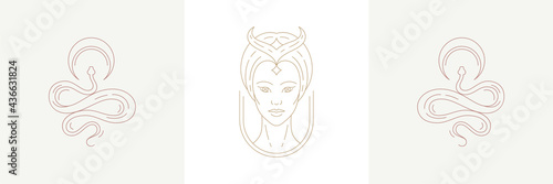 Magic woman enchantress head and crescent with curvy snakes in boho linear style Fototapet