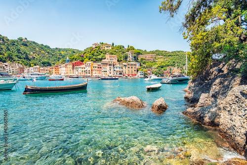 Obraz na plátně Portofino village on the Italian riviera