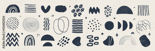 Abstract graphic art set. Various modern organic shapes and elements in vintage style with grunge texture. Hand-drawn abstract art Vector collection.