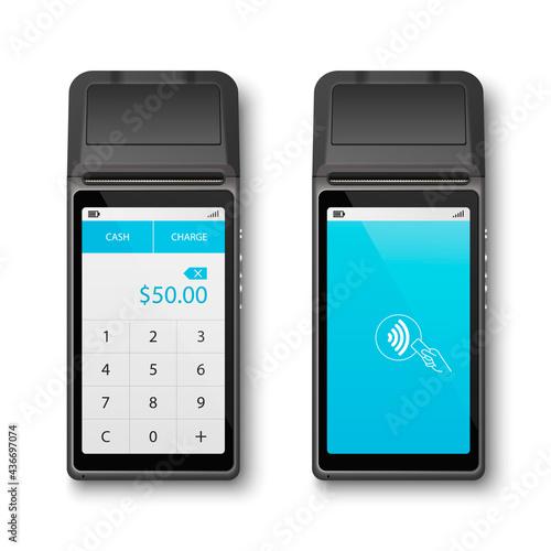 Obraz na plátně Vector Realistic Black 3d Payment Wi-Fi Machine