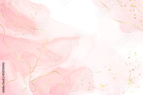 Abstract dusty blush liquid watercolor background with golden cracks. Pastel pink marble alcohol ink drawing effect. Vector illustration design template for wedding invitation