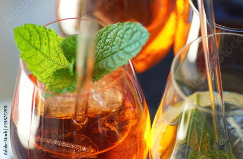 Fotografia, Obraz close up of colorful aperitive summer drinks with glass straws
